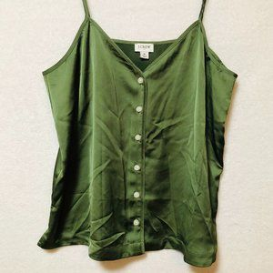 J. Crew Silk Olive Tank With Buttons